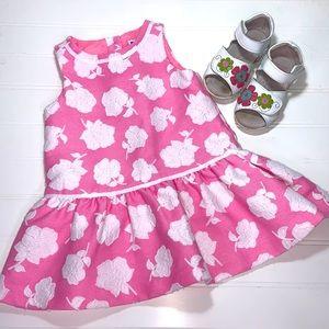 JANIE & JACK PINK SLEEVELESS FLORAL DRESS 12-18 M
